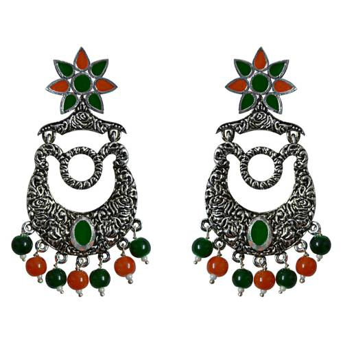 Craftsvilla Antique Finish Oxidized German Silver Plated Peacock Pendant Brass Jhumki Earrings For Women