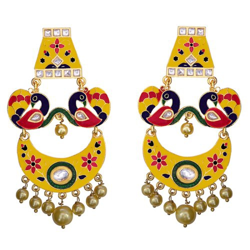 Craftsvilla Yellow Color Brass Traditional Meenakari Earrings