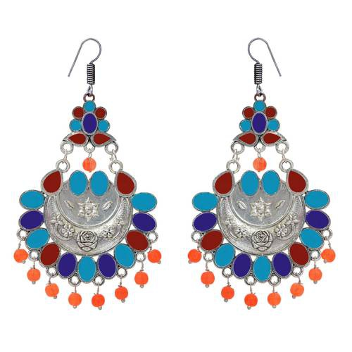 Craftsvilla Silver Plated Brass Designer Pearls Chandbali Earrings