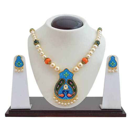 Craftsvilla Blue Color Brass Pearls Traditional Hand Painted Necklace Set
