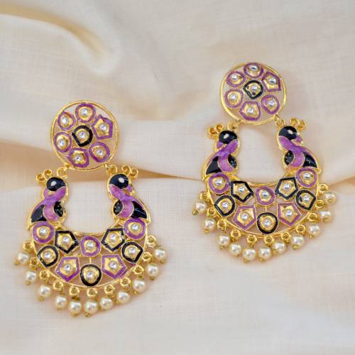 Craftsvilla Copper Finish Brass Traditional Meenakari Earrings
