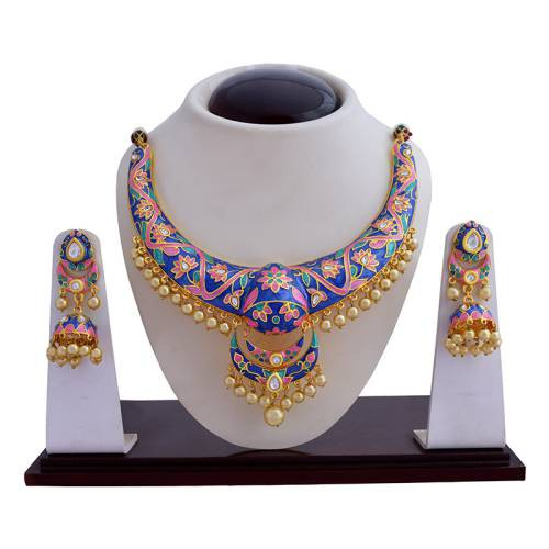 Craftsvilla Blue Color Traditional Meenakari Necklace Set