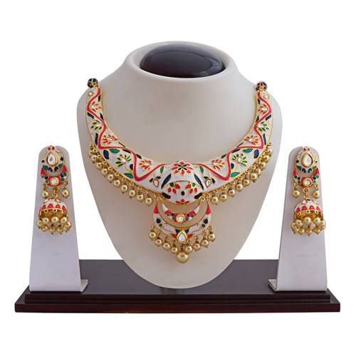 Craftsvilla White Color Fashion Meenakari Necklace Set