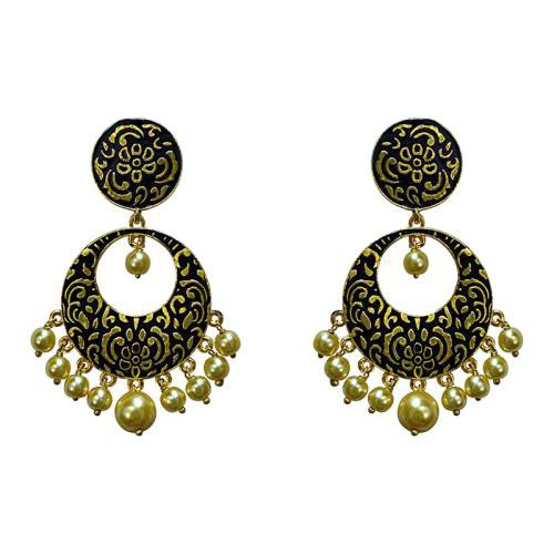 Craftsvilla Meenakari Black Kundan Single Color Gold Plated Brass Dangler Earring Set-691
