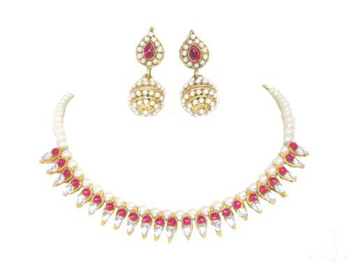 Craftsvilla Gold Plated Cubic Zirconia Hand Crafted Fashion Necklace Set