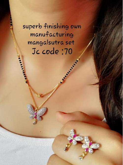 American Diamond Mangalsutra Earrings Set