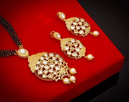 Craftsvilla Gold Plated Alloy Metal Designer Mangalsutra Set