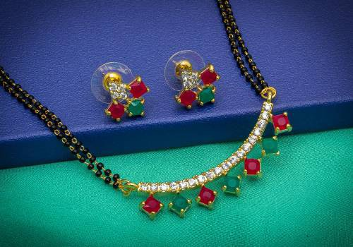 Craftsvilla Gold Plated Alloy Metal Crystal Embellished American Diamond Mangalsutra Set
