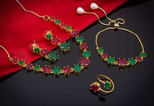 Craftsvilla Gold Plated Alloy Metal Designer Necklace Set With Earrings Ring And Bracelet