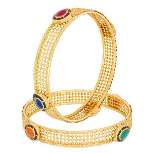 Craftsvilla Gold Plated Alloy Metal Hand Crafted American Diamond Traditional Bangles Set