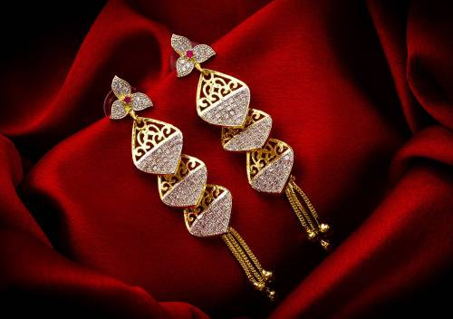 Gold Plated Alloy Metal Designer American Diamond Earrings