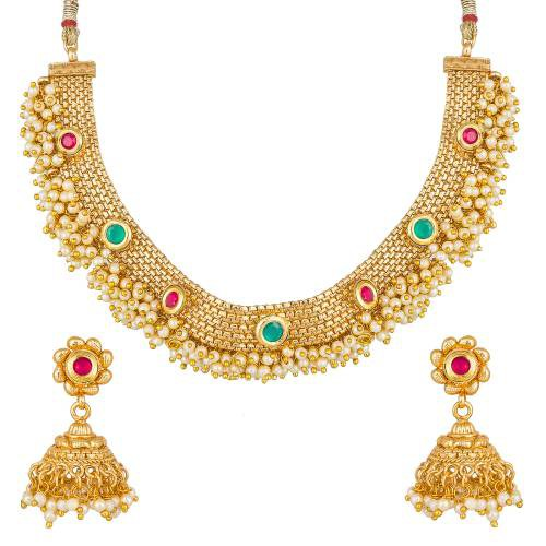 Craftsvilla Gold Plated Pearl And Stones Designer Necklace Set