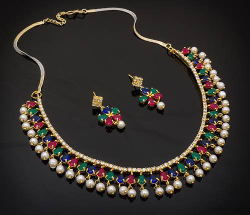 Craftsvilla Gold Plated Alloy Metal Designer Crystal Embellished Necklace Set
