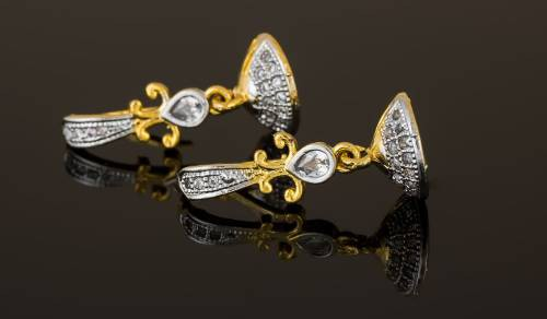 Craftsvilla Gold Plated Alloy Metal Fashion American Diamond Drop Earrings