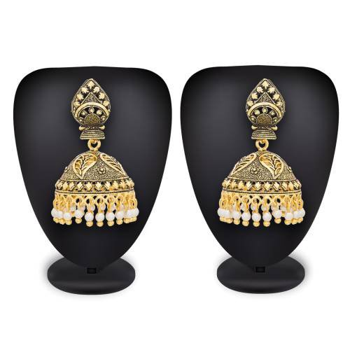 Craftsvilla Gold Plated Alloy Metal American Diamond Traditional Jhumka Earrings