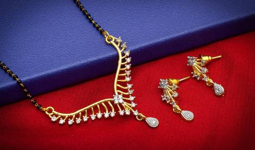 Craftsvilla Gold Plated Alloy Metal Hand Crafted American Diamond Mangalsutra Set
