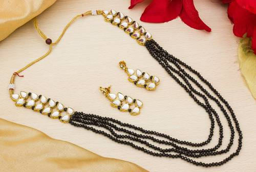Craftsvilla Gold Plated Alloy Metal Designer Pearl Embellished Necklace Set