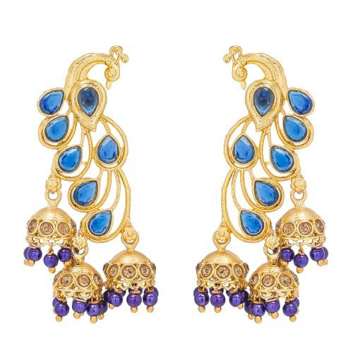 Craftsvilla Peacock Design Blue Studded Golden Jhumki Earring Set