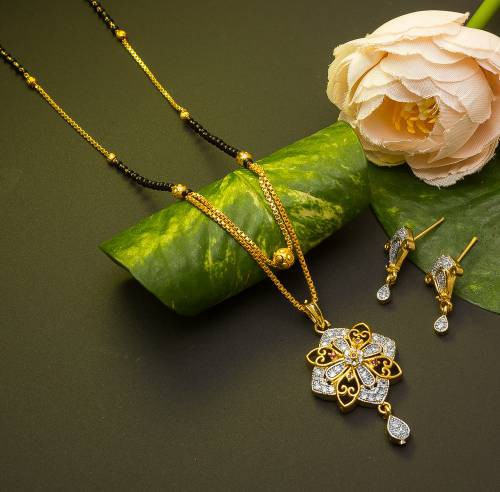 Gold Plated Alloy Metal Designer American Diamond Mangalsutra Set