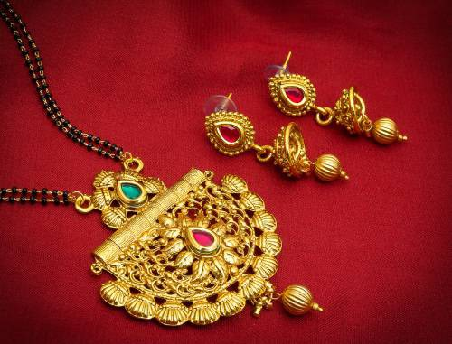 Craftsvilla Gold Plated Alloy Metal Hand Crafted Beads Mangalsutra Set