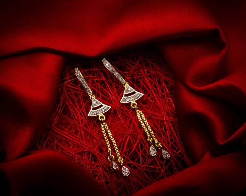 Gold Plated Alloy Metal Designer Drop Earrings