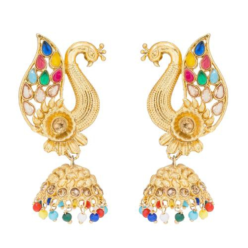 Craftsvilla Peacock Design Beads And Stone Multicolor Jhumki Earring Set