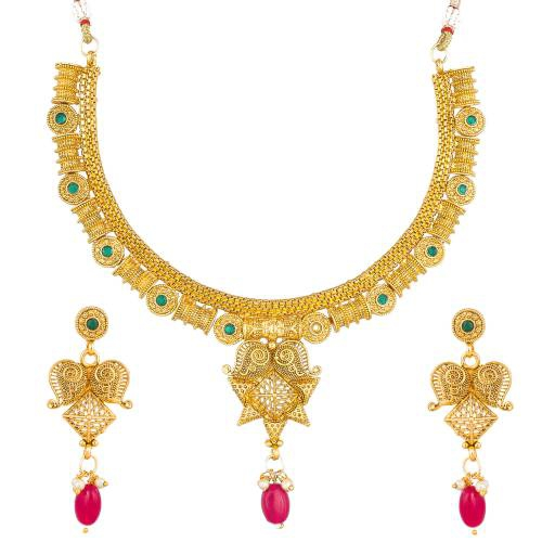 Craftsvilla Designer Golden Alluring Necklace Set