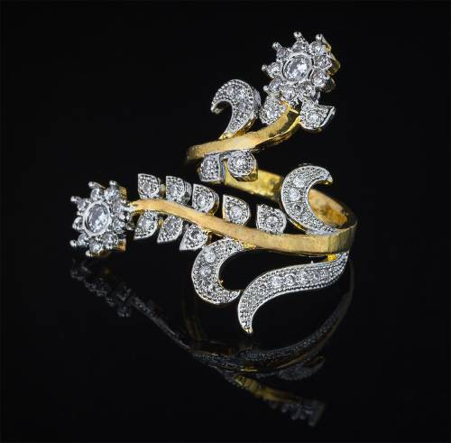 Craftsvilla Gold Plated Alloy Metal American Diamond Designer Ring