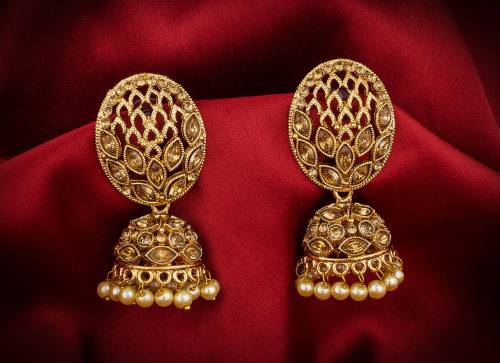 Craftsvilla Gold Plated Alloy Metal Fashion Beads Jhumka Earrings