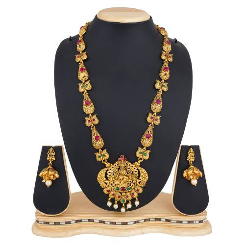 Craftsvilla Gold Plated Alloy Metal Temple Necklace Set