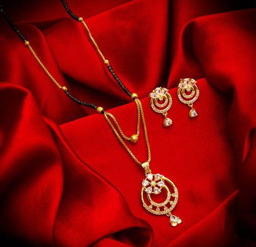 Gold Plated Alloy Metal Designer Crystal Embellished Mangalsutra Set
