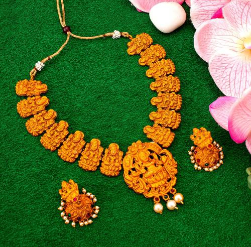 Traditional Temple Heavy Royal Pearl Necklace Set