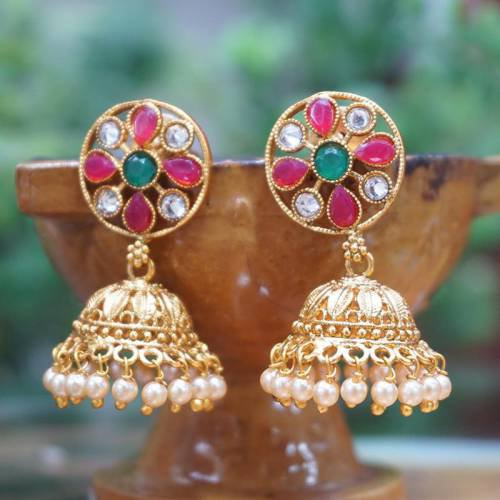 Gold Plated Multi Color  Jhumka Earring