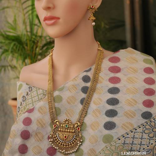 Gold Plated Peacock Jalebi Pearls Long Necklace Set