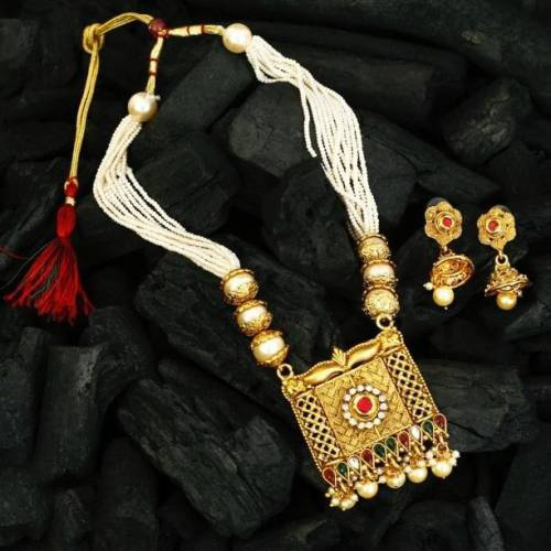 Gold Plated Pearls Kundan Haram Mala Necklace Set With Earring