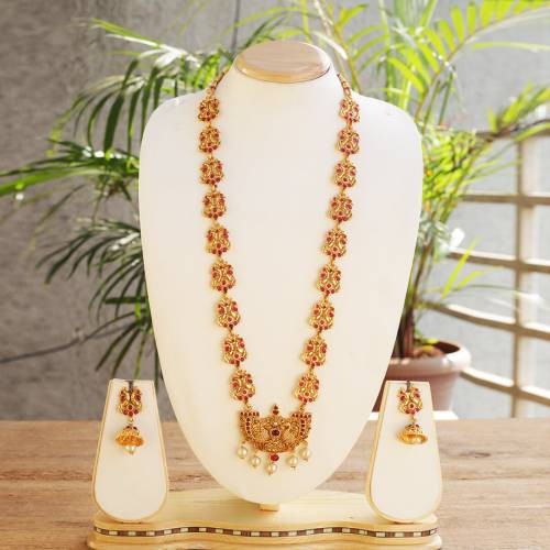 Catchy Peacock Design Maroon Color Long Necklace Set
