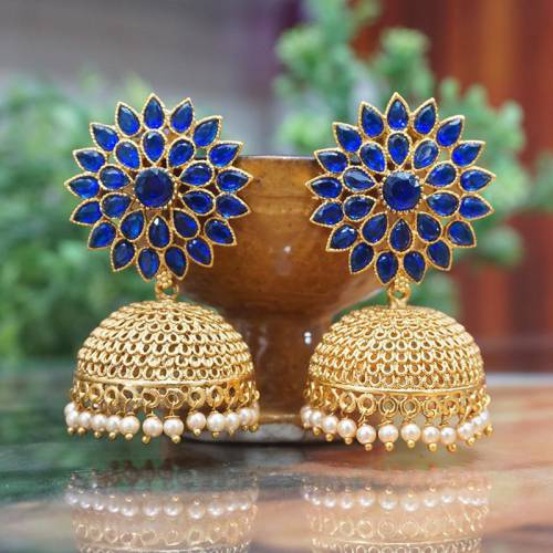 Gold Plated Blue  Jhumka Earring