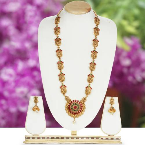 Flower Design Laxmi Patta Green Maroon Long Necklace Set