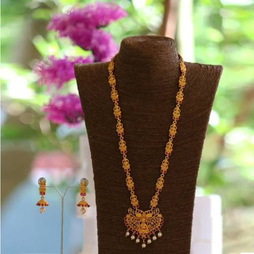 Smarty Maroon Laxmi Design Long Necklace Set