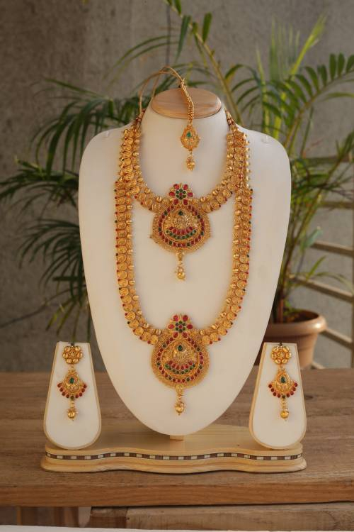 Traditional South Indian Design Multicolor Haram Necklace Set