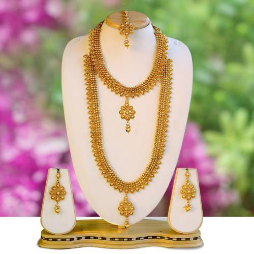 Attractive Flower Design Golden Color Haram Set