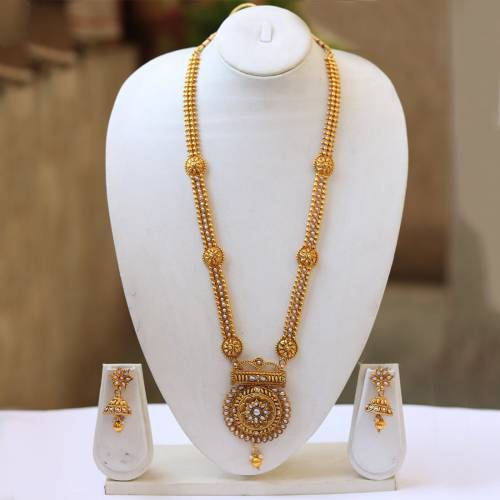 Gold Plated White Long Necklace