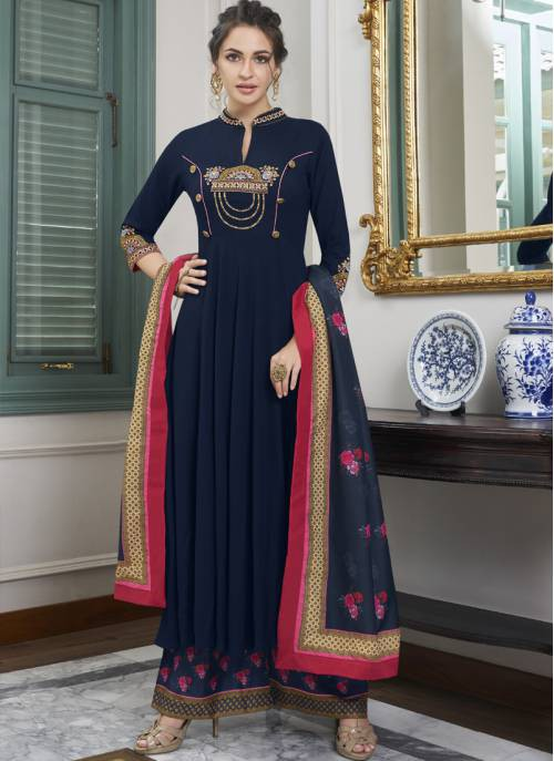 Navy Blue Maslin Embroidered Readymade Palazzo Suit