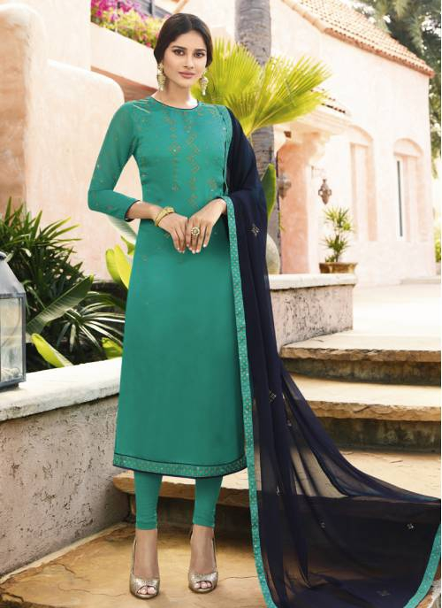 Craftsvilla Sky Blue Georgette Embroidered Semi-stitched Straight Suit