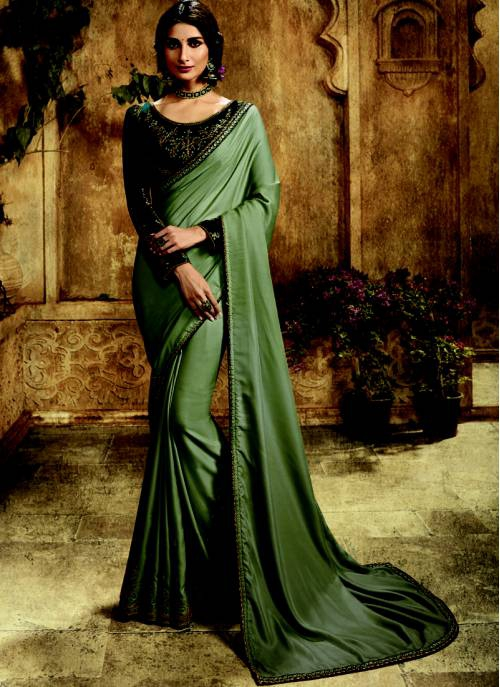 Craftsvilla Dark Grey Silk Designer Embroidered Saree With Unstitched Blouse Material