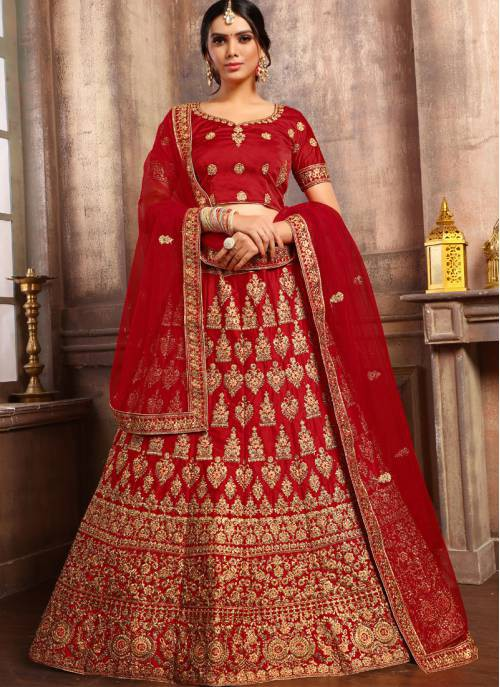 Craftsvilla Red Satin Embroidered Designer Lehenga Choli