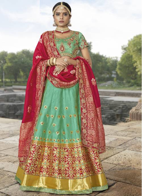 Craftsvilla Green Jacquard Embroidered Designer Semi-stitched Lehenga Choli