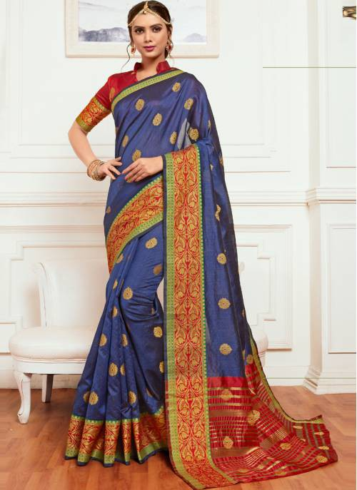 Craftsvilla Blue Cotton Buti Work Designer Saree With Unstitched Blouse Material
