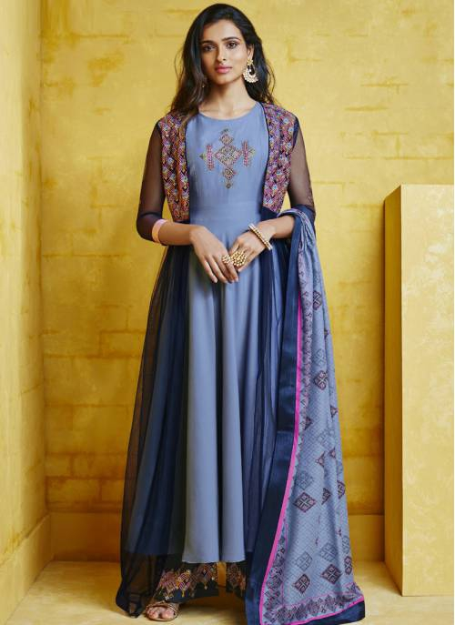 Blue Silk Embroidered Circular Readymade Anarkali Suit