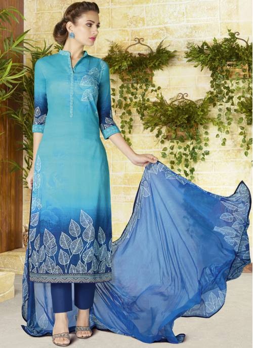 Craftsvilla Sky Blue Color Cotton Printed Semi-stitched Straight Suit